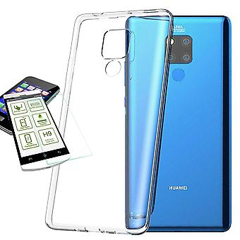 Voor Huawei mate 20 X Silikoncase TPU transparant + 0,26 H9 glas tas case beschermhoes