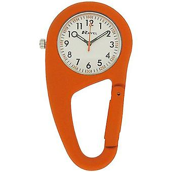 Ravel Orange Clip On Rubberised Doctors Nurses Carabiner Fob Watch R1105.08