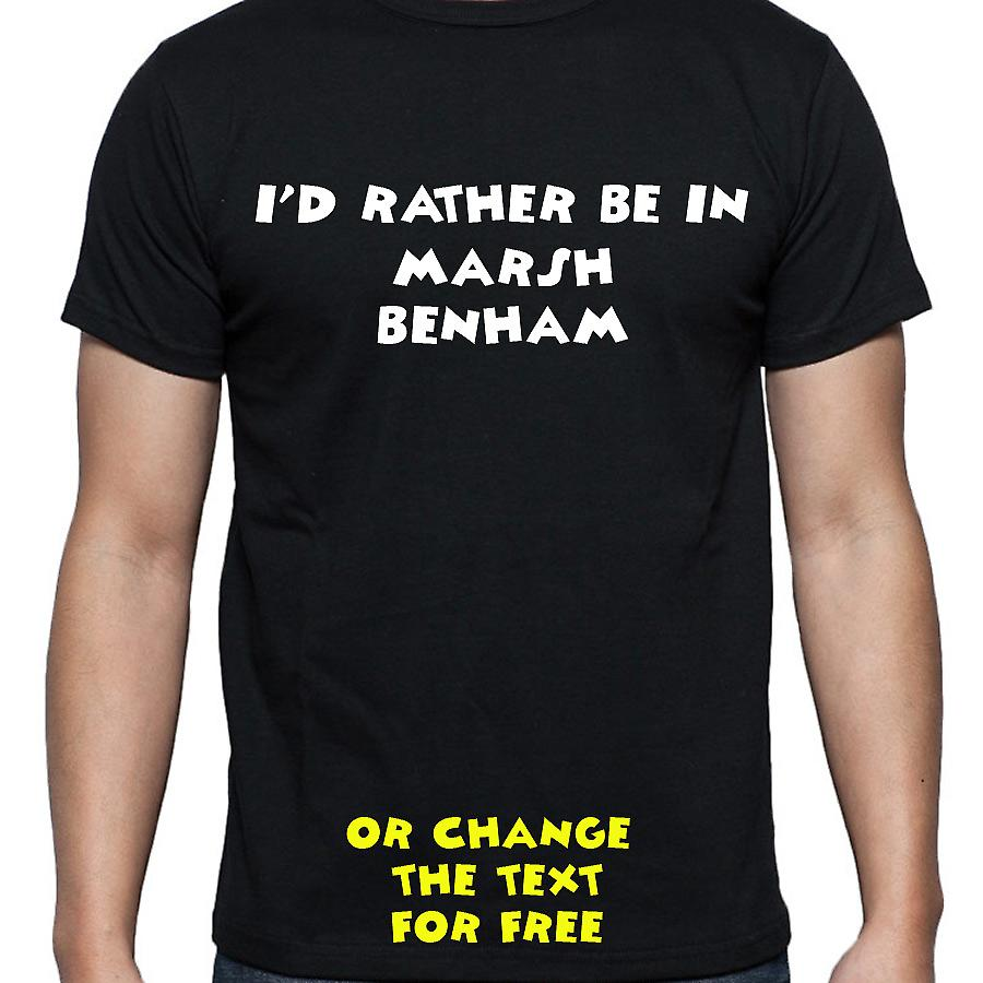 I'd Rather Be In Marsh benham Black Hand Printed T shirt