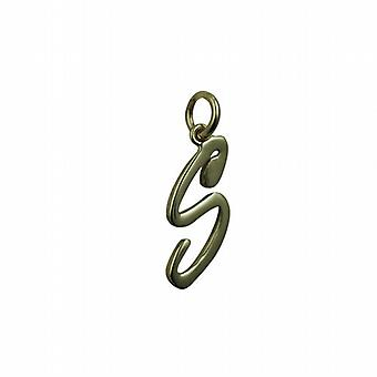 9ct Gold 26x11mm plain Initial S Pendant