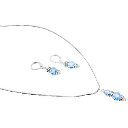 Sparkling Aquamarine Clear Crystals Drop Down Pendant Earrings Set