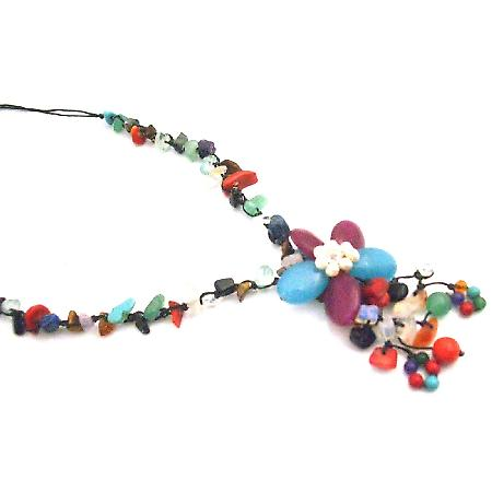 Multicolor Nugget Fashion Jewelry Flower Tassel Stylish Necklace