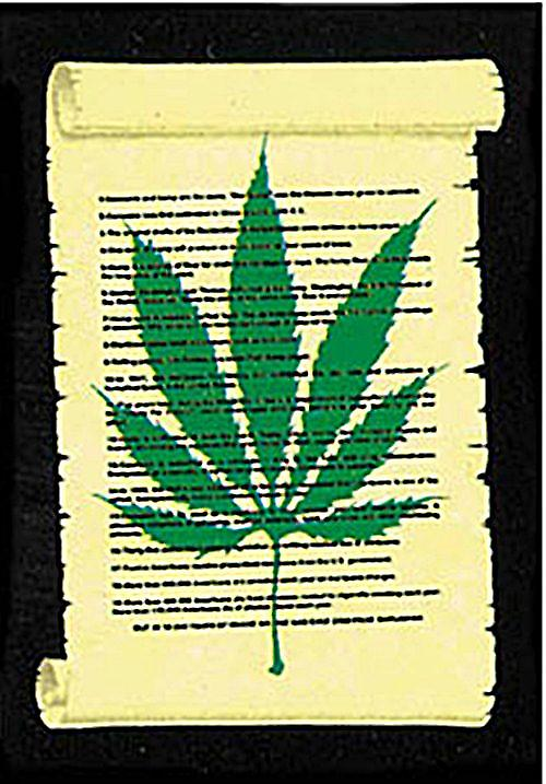 Cannabis on Parchment large textile poster  (mm)