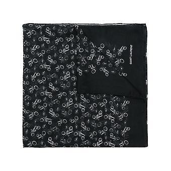 Saint Laurent Black Cotton Scarf