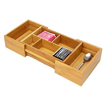 Woodquail Bamboo Small Space Saving Expandable Adjustable Drawer Organiser, Cutlery Flatware Tray