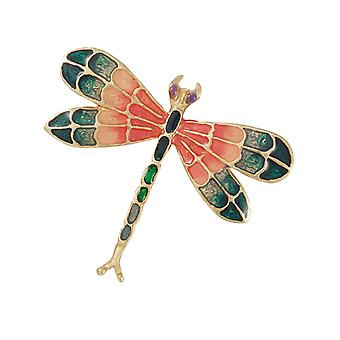 Eternal Collection Wonder Coral Multi Enamel Gold Tone Dragonfly Brooch