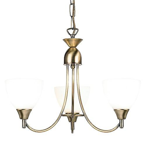 Endon 1805-3AN 3 Arm Ceiling Light With Opal Glass - Dual Mount