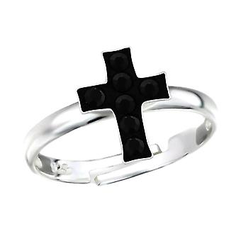 Argento Sterling e cristallo Croce Anello regolabile
