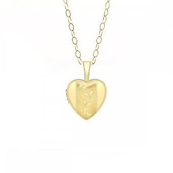 Eeuwigheid 9ct goud kleine vlinder hart medaillon en 16 ' ' chain