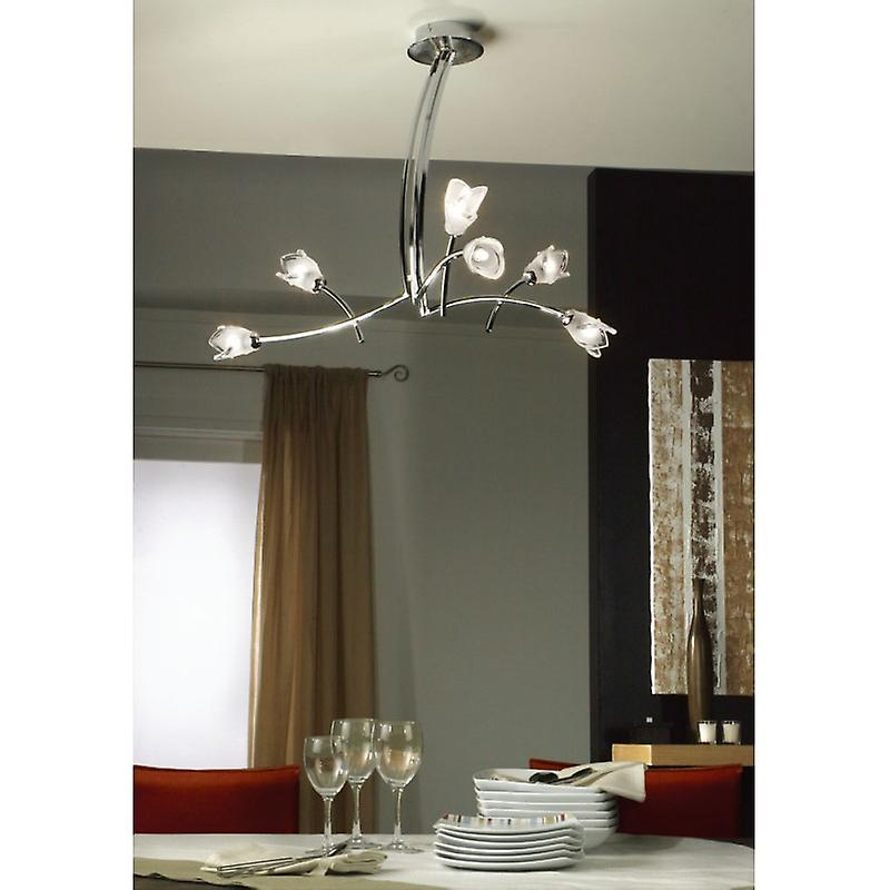 Pietra Pendant 3 Arm 6 Light G9, Polished Chrome