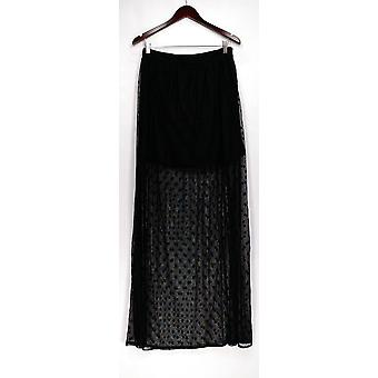 The Coverii Skirt Polka Dot Printed Mesh Overlay Maxi Black