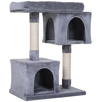 PawHut Three-Tier Cat Activity Tree Play Tower Kitten Palace w/ Sisal Scratching Post Hut House Large Top Perch Grey