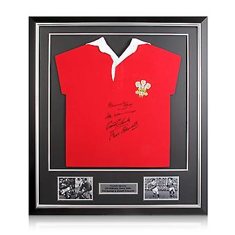 Wales Rugby Shirt Signed By Edwards, Williams, Bennett And John Framed