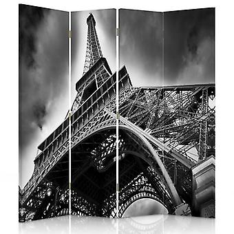 Room Divider, 4 Panels, Double-Sided, 360 ° Rotatable, Canvas, Eiffel Tower