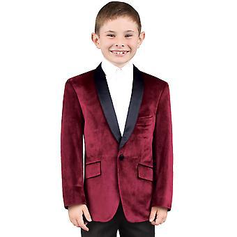 Dobell Boys Burgundy Jacket Regular Fit Velvet Contrast Shawl Lapel