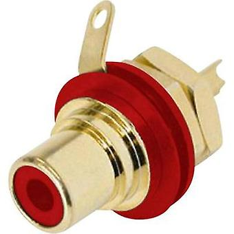 RCA connector Socket, vertical vertical Number of pins: 2 Red Rean AV NYS 367-2 1 pc(s)