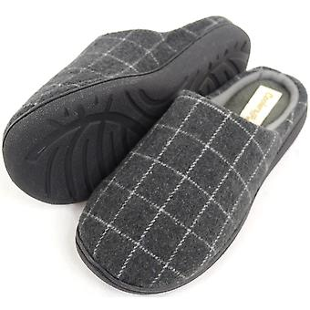 Mens Fleece Lined Checked Design Mules / Slippers  - Grey - UK 10