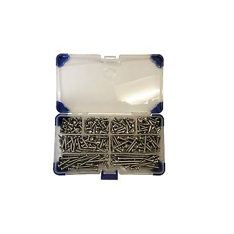 365 Piece No 6 (3.5mm) Stainless Steel Pozi Pan Head Self Tapping Screws Assorted Lengths