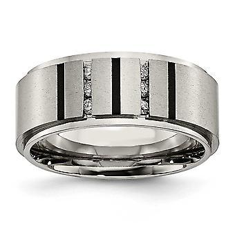 Titane poli brossé plaqué Ip 0,15 ct. Diamant bague 9mm - taille de bague: 8 à 13