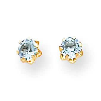 14k Yellow Gold 4mm Synthetic Aquamarine (Mar) Screwback Earrings - Measures 4x4mm