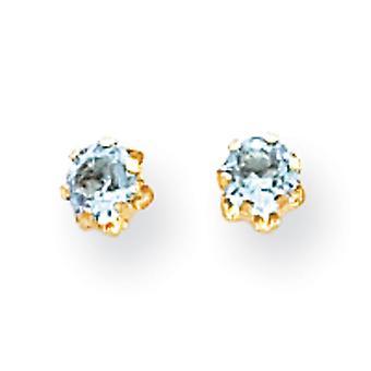 14 k Gelb Gold poliert simuliert Schraube hinten Post Ohrringe 4mm synthetischen Aquamarin (Mar) Schraube-Back Ohrringe - messen
