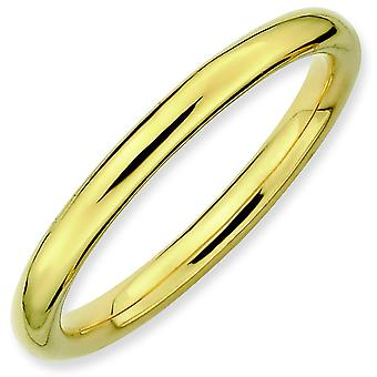 Sterling Silver Stackable Expressions Gold-Flashed Polished Ring - Ring Size: 5 to 10