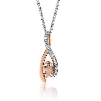10K Rose Gold Diamond And Morganite Pendant (0.05 Cttw, G-H Color, I2-I3 Clarity)