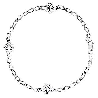 Sea Shell Fancy Chain Anklet In Sterling Silver