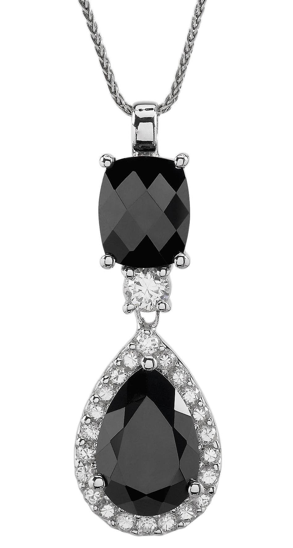 Burgmeister chain and pendant JBM1051-421, 925 sterling silver rhodanized, black zirconia