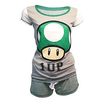 NINTENDO Super Mario Bros. Female Green 1-UP Mushroom Shortama Nightwear Set Small Grey/Green (ZI060301NTN-S)