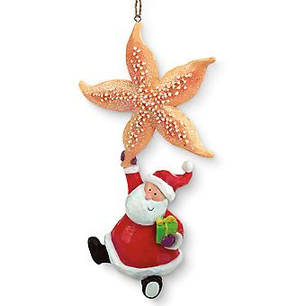 Starfish and Whimsical Santa Holiday Christmas Ornament