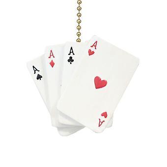 Poker Hand Aces Hearts Diamonds Spades Clubs Ceiling Fan Light Pull