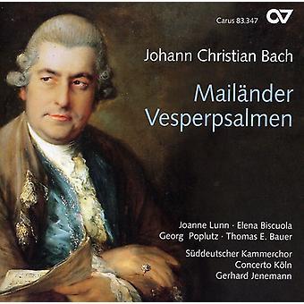 J.C. Bach - Johann Christian Bach: Mail Nder Vesperpsalmen [CD] USA import