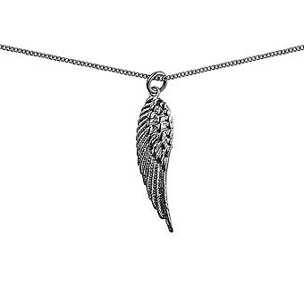 Silver 39x12mm Angel's Wing Pendant or Charm with a curb Chain 24 inches