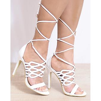 Koi Couture Ladies Ed19 White Patent Peep Toes Ankle Strap Strappy Sandals High Heels