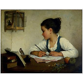 Browne Henriette - A Girl Writing Poster Print Giclee
