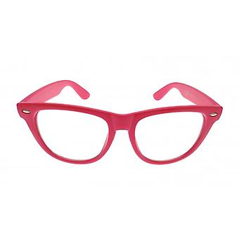 W.A.T Retro Pink Framed Clear Glass Geek Glasses