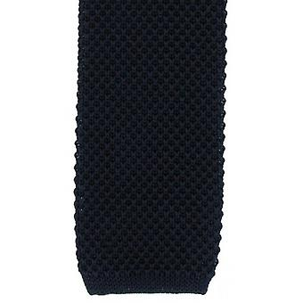 Michelsons of London Skinny Silk Knitted Tie - Navy
