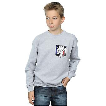 Looney Tunes Boys Pepe Le Pew Face Faux Pocket Sweatshirt