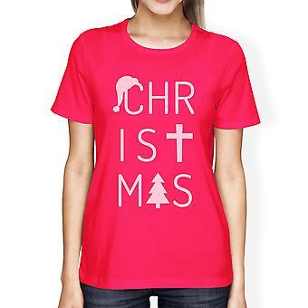 Chaud de Noël lettres Womens Tee à manches courtes T-Shirt graphique rose