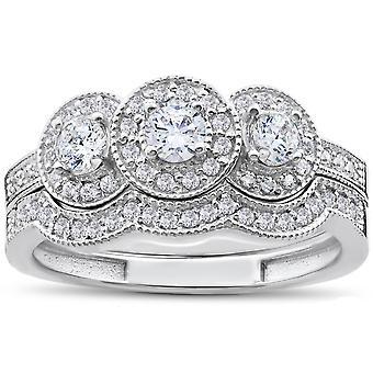 1ct 3-Stone Halo Diamond Engagement Wedding Ring Set 10K White Gold