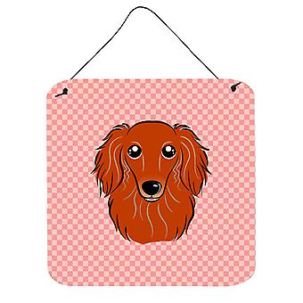 Checkerboard Pink Longhair Red Dachshund Wall or Door Hanging Prints