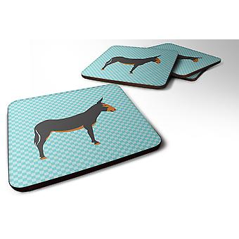 Set of 4 Catalan Donkey Blue Check Foam Coasters Set of 4