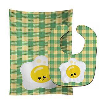 Carolines Treasures  BB7044STBU Fried Egg Face Baby Bib & Burp Cloth