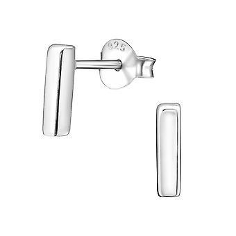 Bar - 925 Sterling Silver Plain Ear Studs