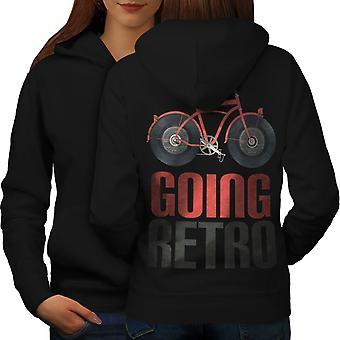 Going Retro Bike Women BlackHoodie Back | Wellcoda