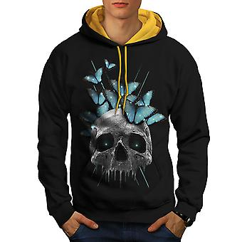 Skull Eyes Art Men Black (Gold Hood)Contrast Hoodie | Wellcoda