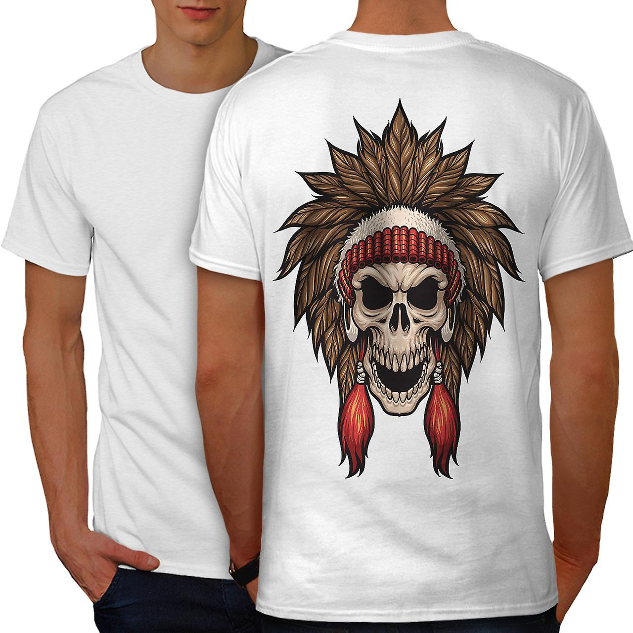 v tements indiens art skull homme t shirt blanc retour wellcoda fruugo. Black Bedroom Furniture Sets. Home Design Ideas