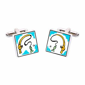 Sonia Spencer Fishing Rod Cufflinks - English Bone China Hand Crafted Cuff Links