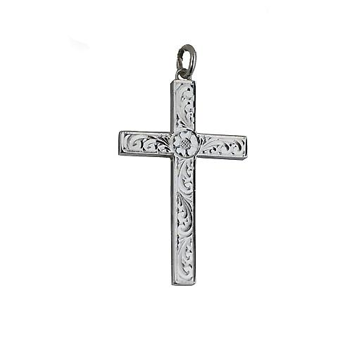 Silver 40x25mm victorian hand engraved solid block Cross
